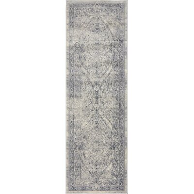 Abbeville Gray/Dark Blue Area Rug Rug Size: Runner 22 x 67