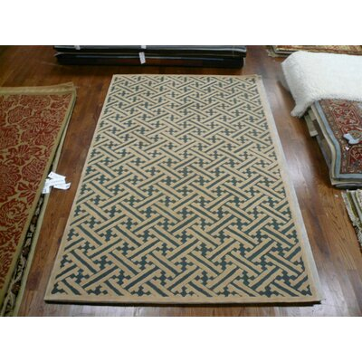 Geistown Hand-Hooked Blue/Brown Area Rug