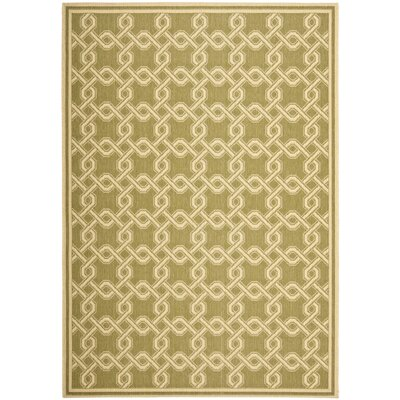 Green/Cream Area Rug Rug Size: 67 x 96