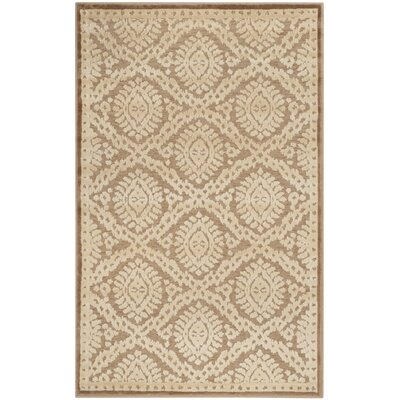 Hand-Loomed Taupe/Beige Area Rug Rug Size: 53 x 76