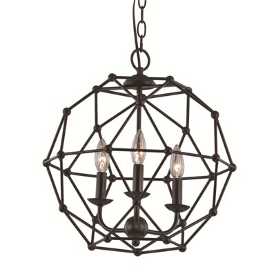 Terria 3-Light Globe Pendant Finish: Antique Silver Leaf