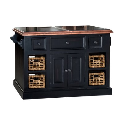 Zula Kitchen Island with Granite Top Base Finish: Black