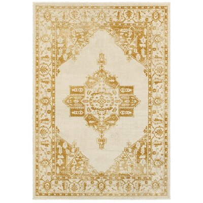 Amberly Beige/Gold Area Rug Rug Size: Rectangle 910 x 1210