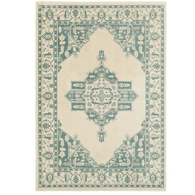 Amberly Green/Beige Area Rug Rug Size: Rectangle 53 x 76