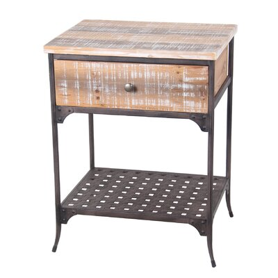 Versailles 1 Drawer Iron and Wood End Table