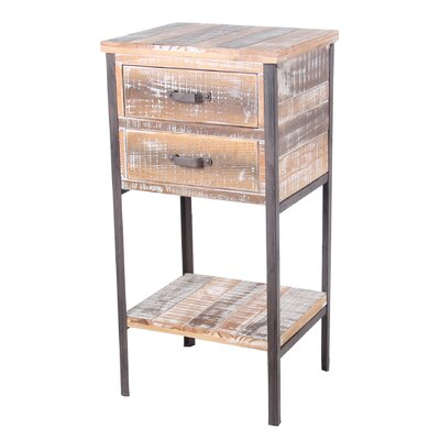 Vintondale 2 Drawer Iron and Wood End Table