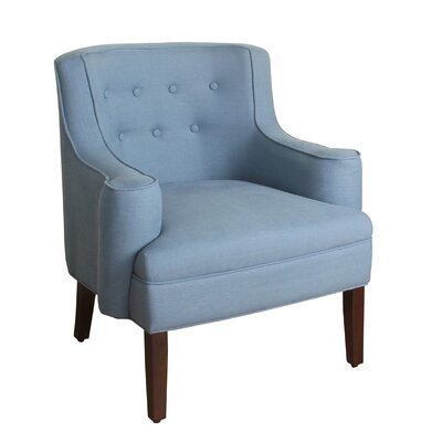 Antonin Curved Armchair Upholstery: Washed Chambray