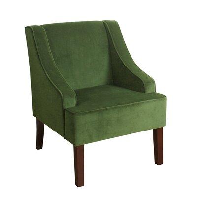 Antoinette Velvet Swoop Armchair Upholstery: Green