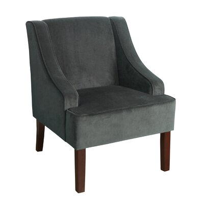 Antoinette Velvet Swoop Arm Chair Upholstery: Gray
