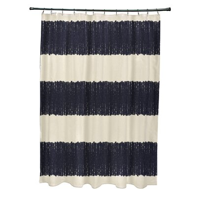 Govan Twisted Stripe Stripe Print Shower Curtain Color: Navy Blue