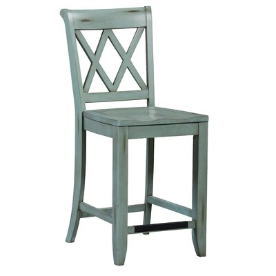 25.63 Bar Stool (Set of 2) Finish: Green