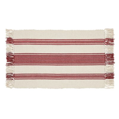 Boucher Hand-Woven Cotton Red Area Rug Rug Size: Rectangle 18 x 26