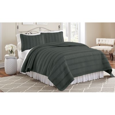Arthur 3 Piece Ruffled Quilt Set Size: Twin, Color: Charcoal