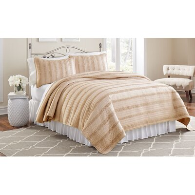 Arthur 3 Piece Ruffled Quilt Set Size: Full/Queen, Color: Peach