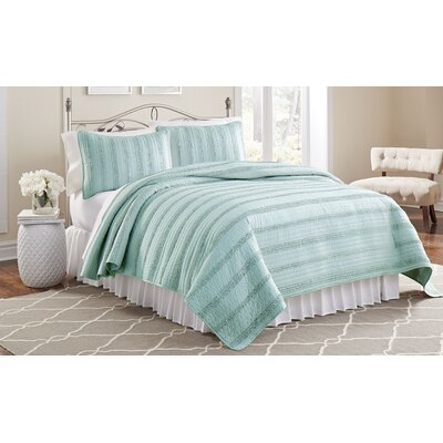 Arthur 3 Piece Ruffled Quilt Set Size: King, Color: Aqua
