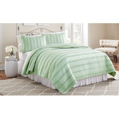 Arthur 3 Piece Ruffled Quilt Set Size: Full/Queen, Color: Jade