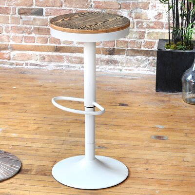 Camellia Adjustable Height Swivel Bar Stool Base Finish: White