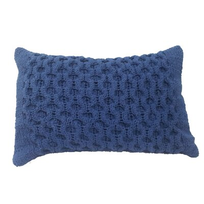 Perryville Knit Cotton Lumbar Pillow Color: Navy