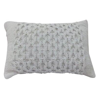 Carlee Knit Cotton Lumbar Pillow Color: Cream