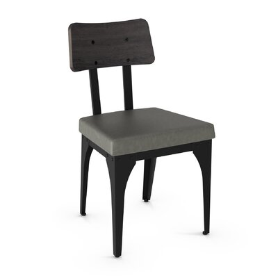 Lyerly Solid Wood Dining Chair Finish: Textured Black Metal/Gray Wood/Gray Polyurethane