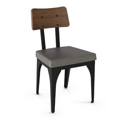 Lyerly Solid Wood Dining Chair Finish: Textured Black Metal/Brown Wood/Gray Polyurethane