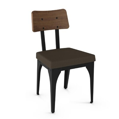 Lyerly Solid Wood Dining Chair Finish: Textured Black Metal/Brown Wood/Grey Polyester