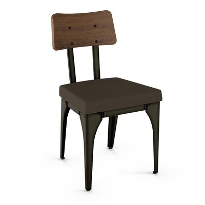 Lyerly Solid Wood Dining Chair Finish: Gun Metal Finish/Brown Wood/Grey Polyester