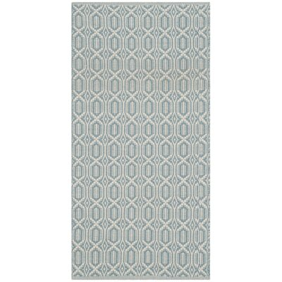 Mooreton Hand-Woven Ivory/Blue Area Rug Rug Size: 3 x 5