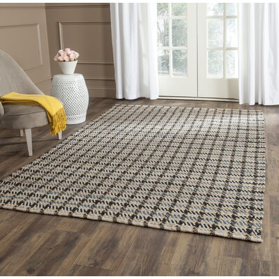 Montfort Hand-Woven Cotton Gray/Natural Area Rug Rug Size: Rectangle 5 x 8