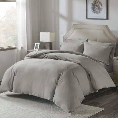 Motte Cotton Pillowcase Size: King, Color: Gray