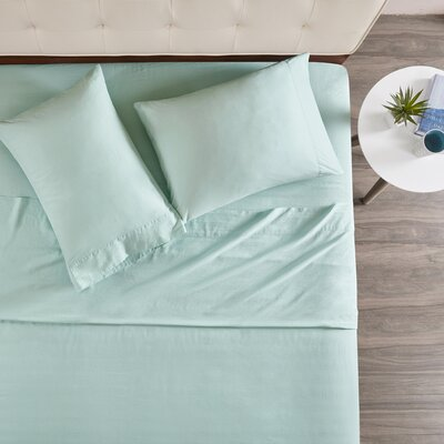 Morneau 144 Thread Count 100% Cotton Sheet Set Size: Cal King, Color: Aqua