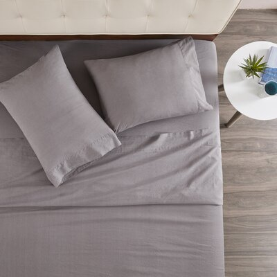 Morneau 144 Thread Count 100% Cotton Sheet Set Size: Queen, Color: Grey