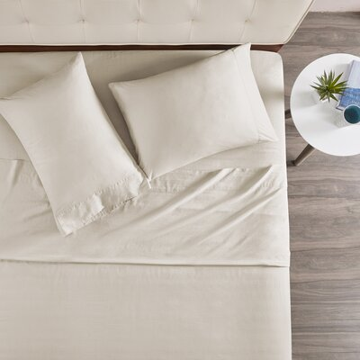 Morneau 144 Thread Count 100% Cotton Sheet Set Size: King, Color: Ivory