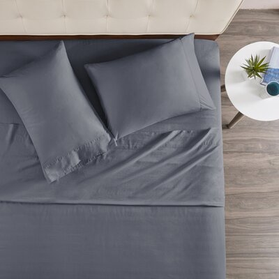 Morneau 144 Thread Count 100% Cotton Sheet Set Size: King, Color: Navy
