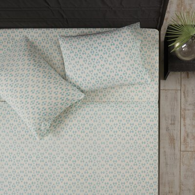 Mosley 100% Cotton Sheet Set Size: Queen, Color: Aqua