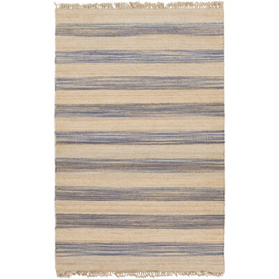 Morissette Hand-Woven Wheat/Denim Area Rug Rug size: 5 x 8