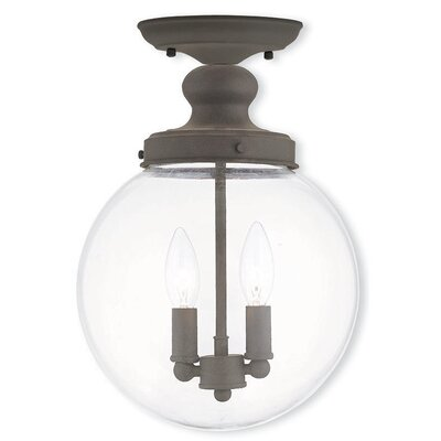 Delmar 2-Light Semi Flush Mount Finish: Bronze