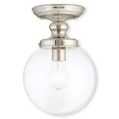 Delmar 1-Light Semi Flush Mount Finish: Polished Nickel
