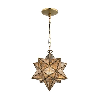 Nikki 1-Light Mini Pendant Finish: Gold / Antique Mercury, Size: 10 H x 9 W x 9 D