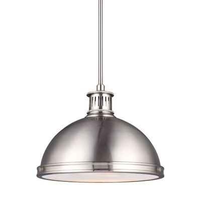 Orchard HIll 1-Light Bowl Pendant Finish: Brushed Nickel, Size: 9.75 H x 13 W x 13 D