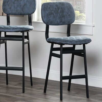 Awesome Where To Buy Newnan 24 Bar Stool Upholstery Blue Creativecarmelina Interior Chair Design Creativecarmelinacom