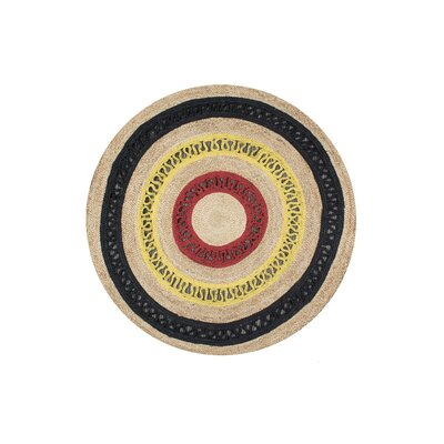 Olive Hand-Woven Red Area Rug Rug Size: Round 4