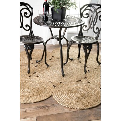 Caroline Hand-Woven Natural Area Rug Rug Size: Round 4