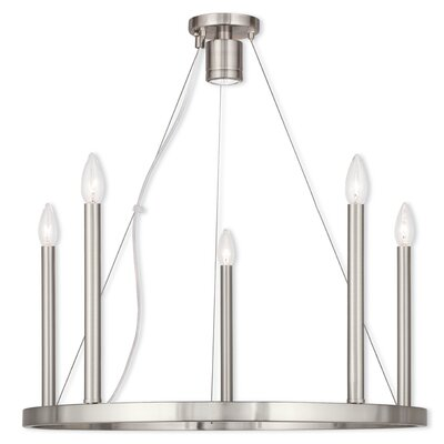 Bellefonte 5-Light Candle-Style Chandelier Finish: Brushed Nickel