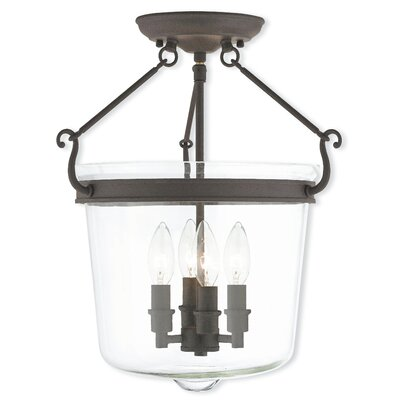 Bellwood Semi-Flush Mount in Polished Nickel Finish: Bronze