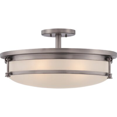 Deidre 5-Light Semi Flush Mount Finish: Antique Nickel