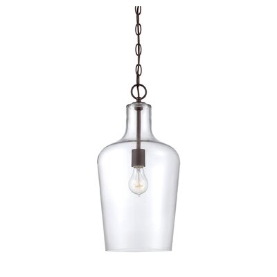Carey 1-Light Foyer Pendant Finish: English Bronze/Clear Glass