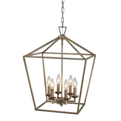 Carmen 6-Light Foyer Pendant Finish: Antique Silver Leaf