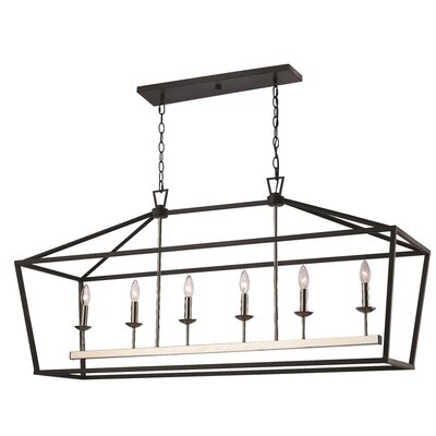 Carmen 6-Light Geometric Pendant Finish: Polished Chrome/Black