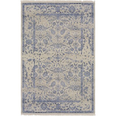 Marwan Hand-Knotted Light Gray Area Rug Rug size: Rectangle 6 x 9